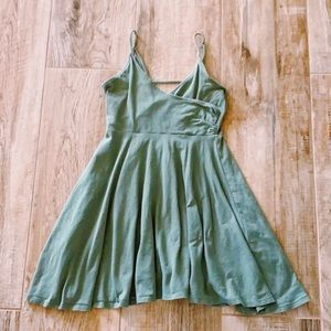 Forever 21 Olive Green Wrap Top Mini Dress